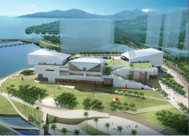Rendering of the Seaw World Culture and Arts Centre, designed by Maki & Associates