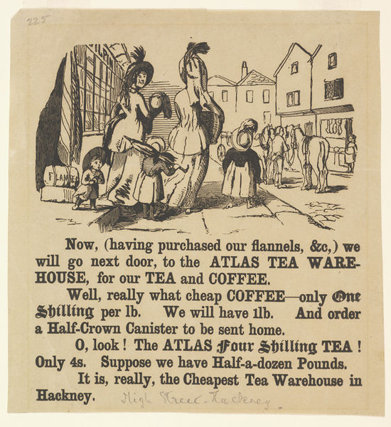 Advertisement for the Atlas Tea Warehouse, woodcut and letterpress, around 1850. Museum no. E.4761-1923. ©Victoria and Albert Museum