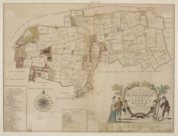 An Actual Survey of the Hamlet of Bethnal Green, coloured engraving by John Harris, 1703. Museum no. E.4887-1923. ©Victoria and Albert Museum