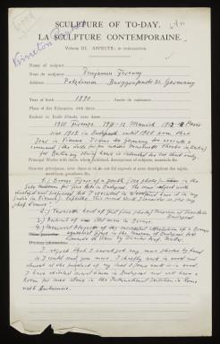 Béni Ferenczy questionnaire 1924-1926
