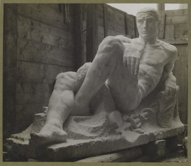 6293-1938 Photograph of a stone figure of Mercury by Bohumil Kafka