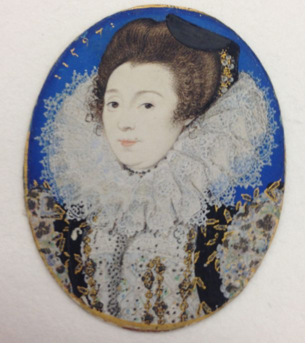 Portrait of a Woman, Nicholas Hilliard (British, Exeter ca. 1547–1619 London), 1597, watercolour on vellum laid onto card. Oval, 47 x 39 mm. Fletcher Fund, 1935. ©Metropolitan Museum of Art, New York. Accession no: 35.89.2 Photography Victoria Button (removed from locket)