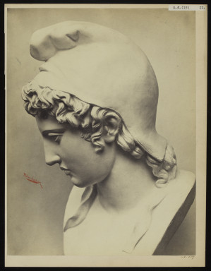 42589 Albumen print of a sculpture photographed by Adolphe Bilordeaux