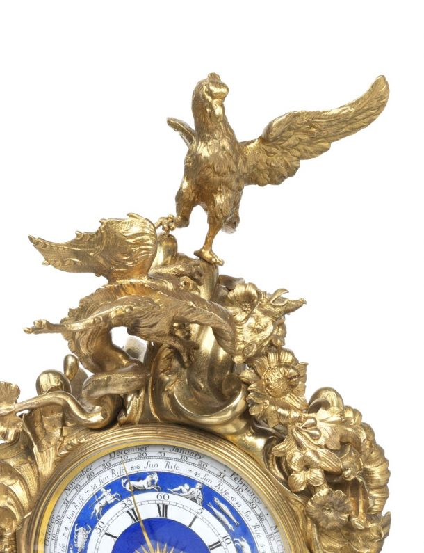 Eagle and dragon on top of the newly acquired royal mantel clock, Charles Clay, 1736, London, museum no. M.1-2016 | The Victoria and Albert Museum, London Gilt-brass, enamel, cast, chased, pierced, enamelled