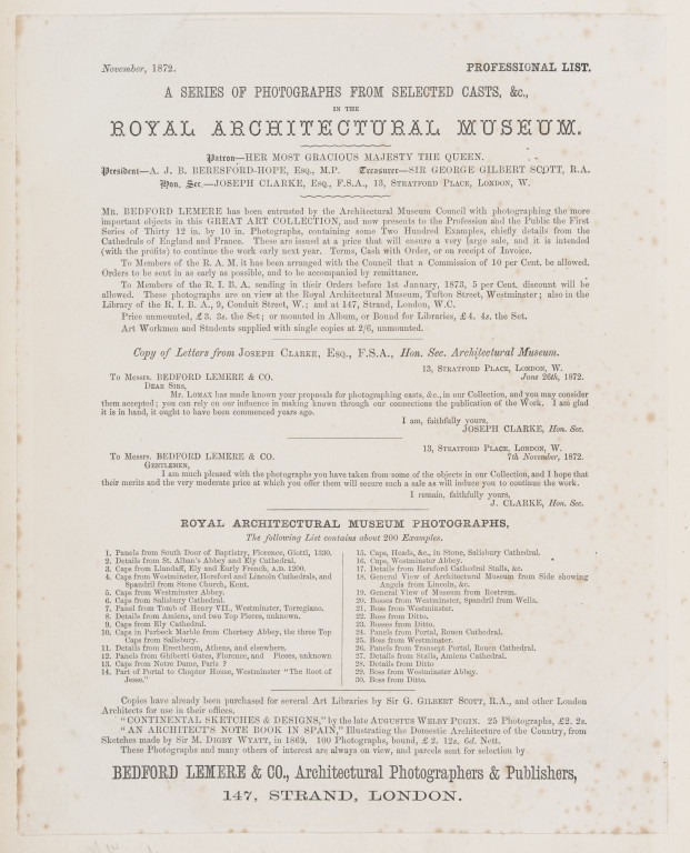 Title page from Architectural Photographs by Bedford Lemere & Co. c.1872 no. E.663:1-2016 ©Victoria and Albert Museum