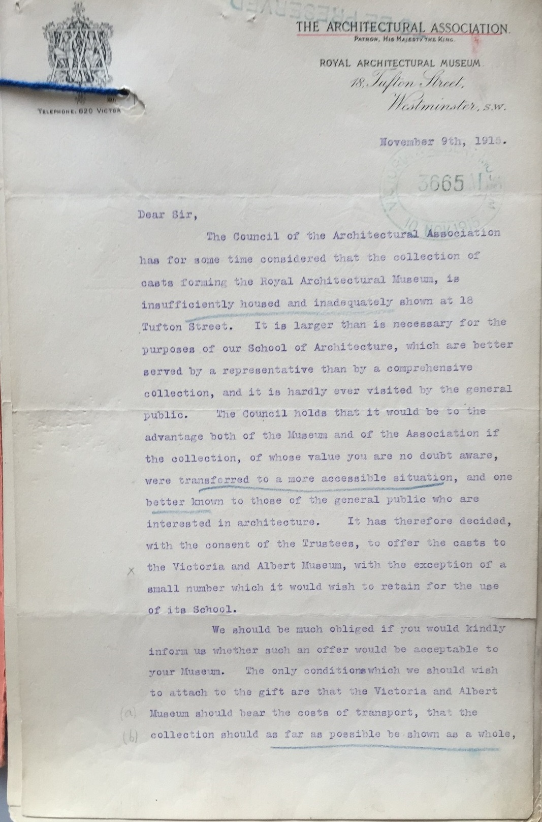 Letter from H. Austen Hall, President of the Architectural Association to Cecil Harcourt Smith, Director of the V&A, 9 November 1915 AAD no. MA/1/A772