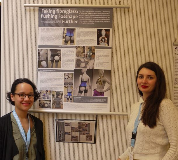 Rachael Lee and Lilia Prier Tisdall with their 'Faking Fibreglass' poster © V&A