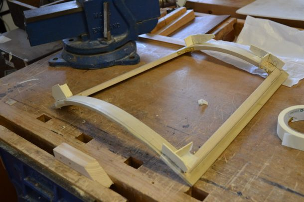 Wooden stretcher-frame made for the back of the armchair