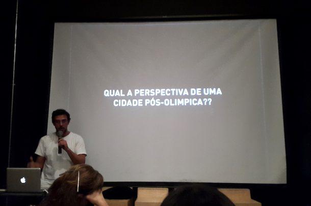 """""""What is the Perspective of a Post-Olympic City?"""" asks Pedro Évora of Rua Arquitectos at the """"Design em Diálogo event at Centro Carioca de Design, Rio de Janeiro, July 6th 2016 © Frederico Duarte"""