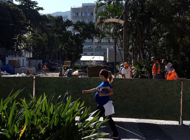 Last landscaping touches to the Antero de Quental station, one of six making up the new Line 4 of the Rio de Janeiro metro connecting the city's south zone to Barra da Tijuca, home to most 2016 Olympics venues.