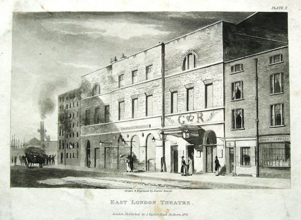 The Well Street facade of the East London Theatre building, ca.1825-1826