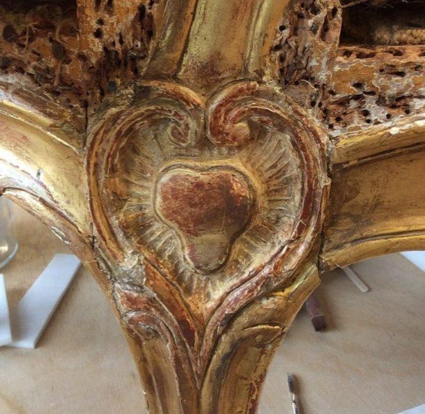 Sculptural ornament detail after stripping