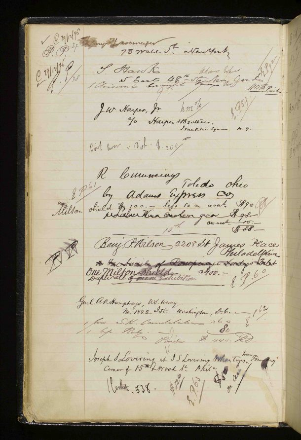 Page 20 verso, Elkington & Co. Visitors' Book, 1855-1878. Victoria and Albert Museum, London. Reference: National Art Library Manuscript: MSL/1971/707-709. The first signature on this page is Henry Osborne Havemeyer (1847-1907) the sugar refiner and prolific art collector. In 1929, his wife, the prominent suffragist Louisine Havemeyer (1855-1929), bequeathed their collection to the Metropolitan Museum of Art in New York. Also on this page is the signature of Joseph Wesley Harper, Jr. (1839–1896) who was a director of the famed publishing house Harper & Brothers. He was the son of one of the firm's founding brothers Joseph Wesley Harper (1801-1870).