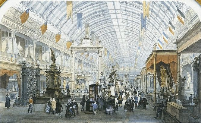 Colour lithograph showing the grand nave of the Palais de l'Industrie at the Exposition universelle in Paris, 1855.