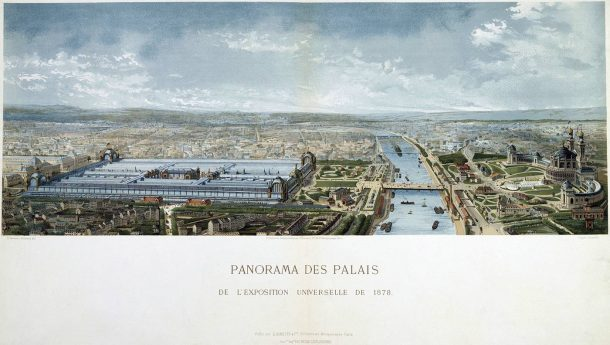 A colour lithograph showing a bird's eye panoramic view of the Exposition universelle in Paris, 1878.