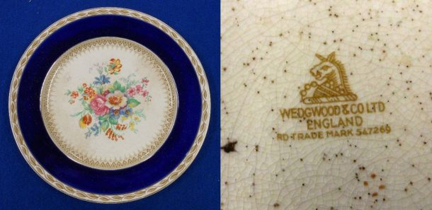 Fig. 2 Plate with painted decoration and maker's mark on base, Wedgwood & Co. Ltd., Stoke-on-Trent, © Sau Fong Chan