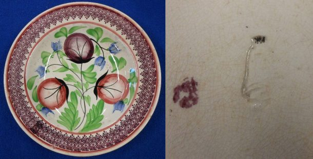 Fig. 3 Plate with sponge-printed and painted decoration and maker's mark on base, J. & M.P. Bell Co. Ltd., Glasgow, © Sau Fong Chan
