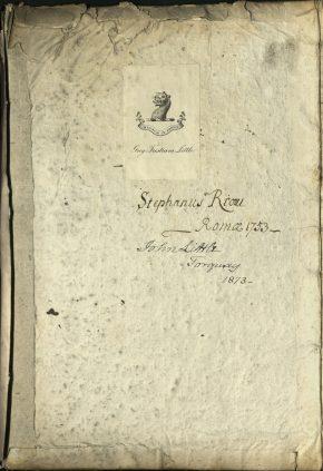Inside front cover of: Regola delli cinque ordini d'architettura, by Vignola. Book, published Rome: Gio: Battista de Rossi, [162-?]. NAL: L.5665-1961