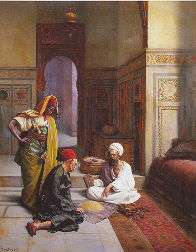 The Fortune-teller. Oil painting by the artist Ludwig Deutsch, 1927. This painting depicts a fortune- teller with a pile of sand and a bound manuscript, advising his client in presence of an attendant. Image source: ludwigdeutsch.blogspot.co.uk