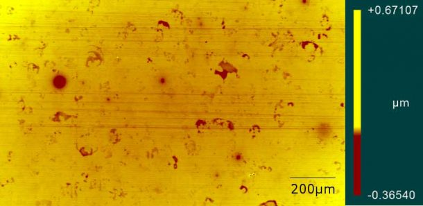White light interferometry photomicrograph showing scratching on a PMMA substrate