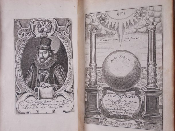 Frontispiece and title page to the seventh edition of Bacon's Sylva Sylvarum, 1658.