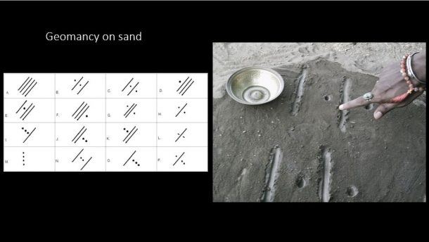 Images of geomantic patterns drawn directly on to sand and the 16 positions which create the figures required to provide a reading. Image source: dawaterohaniat.blogspot.co.uk