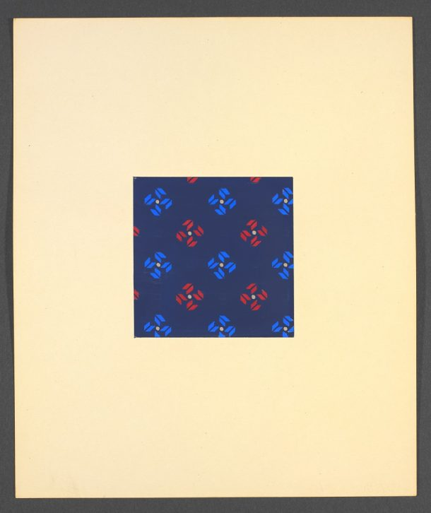 Silk fabric in red and blue, design, Oskar Ehrenzweig, ca. 1947