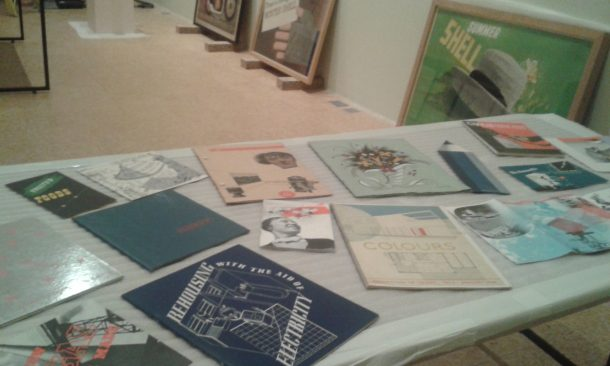 Objects from the Jobbing Printing Collection awaiting install at the De La Warr Pavilion.