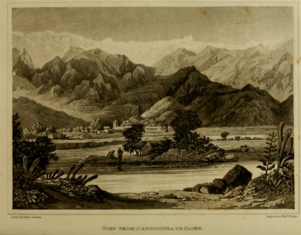 Fig. 2. Lithograph of 'View from L'Angostura de Paine in Chile' in Graham, M. Journal of a residence in Chile during the year 1822