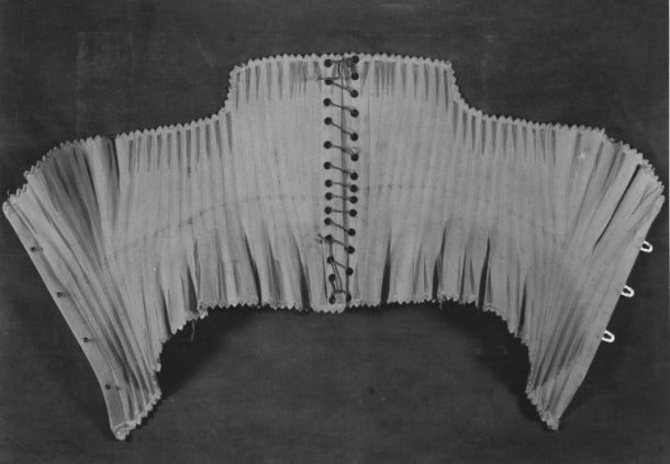 Woven corset, Charles Bayer, Britain, London, 1879-85. Linen, silk and whalebone (baleen), V&A: T.114&A-1938.