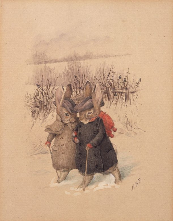 Greetings card design, watercolour and gouache on paper, about 1890. © Frederick Warne & Co.