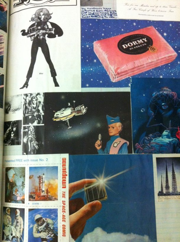 Scrapbook page including collecting cards, advertising and ephemera