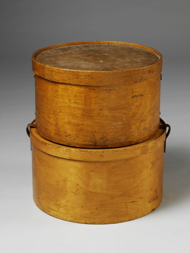 Hatboxes made of moulded birch plywood, one manufactured in Russia (present-day Estonia) by A.M Luther (later Luterma) the other in the USA by Samson (later Samsonite).