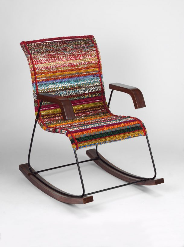 A rocking chair made using recycled rope