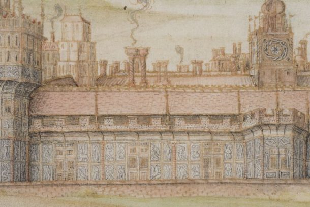 Detail of the south façade of Nonsuch Palace © The Victoria and Albert Museum