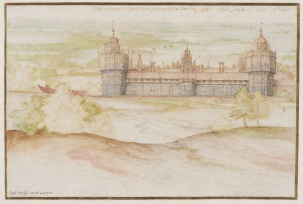 Nonsuch Palace from the South – watercolour by Joris Hoefnagel (E.2781–2016) © The Victoria and Albert Museum