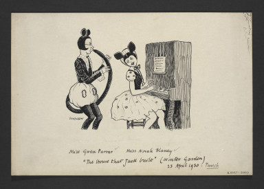 Pen and ink cartoon of Gwen Farrar and Norah Blaney in their comedy piano and clarinet routine in The House that Jack Built, April 1930. Pen and ink by W.K. Haselden for Punch magazine 6 January 1932. BTMA Collection. (V&A S.5027-2009)