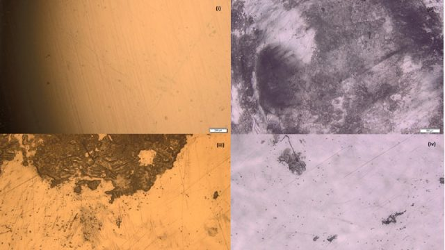 The surface of polystyrene under the optical microscope exposed to different conditions
