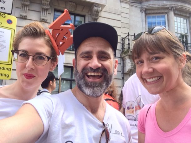 Proud day: Nickos, with Lauren and Amy from the LGBTQ Working Group