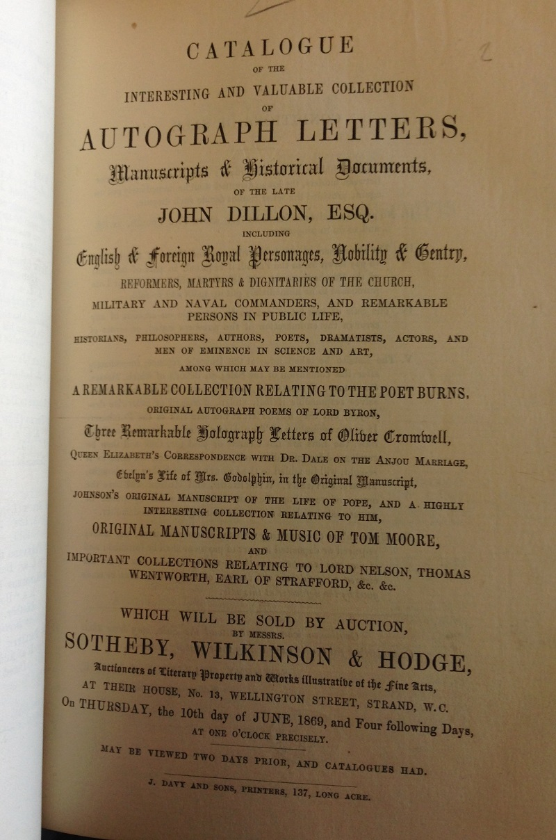 Title page to the 1869 sale catalogue of Dillon's autograph collection