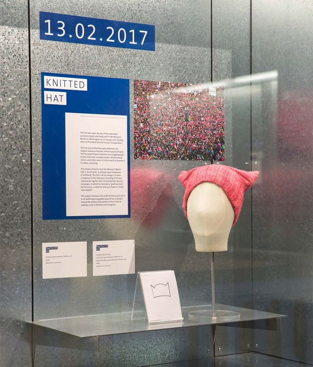 Pussyhat on display in the Rapid Response Gallery