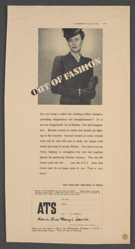 """Out of fashion"", ATS advertisement proof, Hans Schleger"