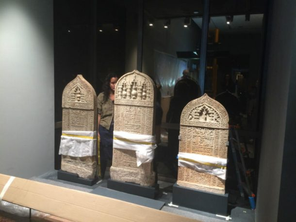 The gravestones being prepared for display at the National Museum in Oman. Image Tim Stanley © Victoria and Albert Museum, London