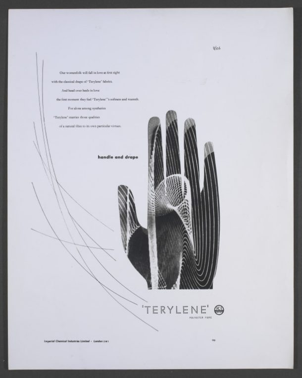 "Terylene ""Handle and drape"" advertisement, Hans Schleger"