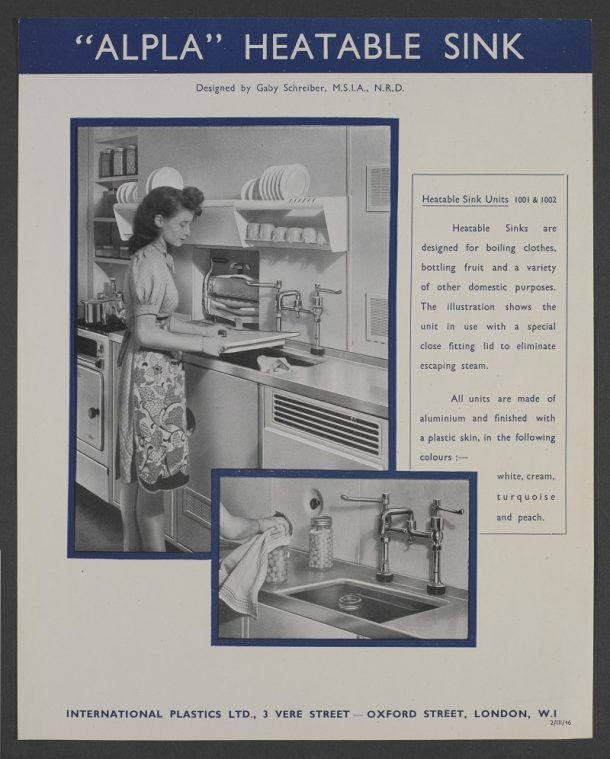 International Plastics Ltd 'Apla' sink advertisement, Gaby Schreiber