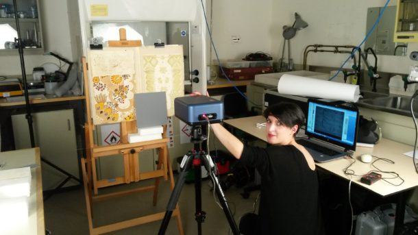 Figure 4: Scientist Chiara Grazia analysing two of the Leman designs with her MOLAB equipment. Photography by Lucia Burgio © Victoria and Albert Museum.