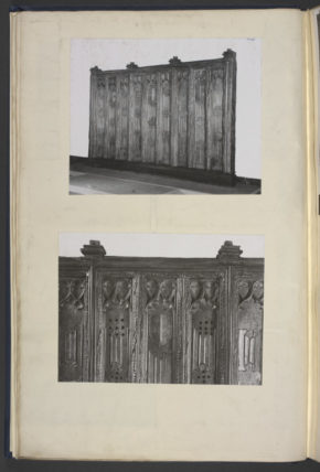 Screen, part of a tracery panel, oak with carved decoration in relief, when on display in 1948