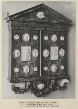 Cabinet from The Hoo, Hertfordshire, rosewood with ivory carvings, property of (in 1938) Francis Harper, now in The Chicago Museum of Art. ©Victoria & Albert Museum, London.