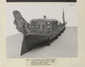 The State Barge built for Frederick, Prince of Wales, 1732, owned by H.M. Queen Elizabeth II. photographed at the V&A in 1938
