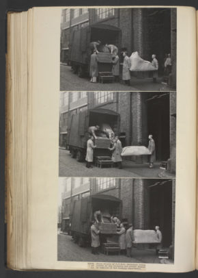 L.N.E.R.Containers being loaded by members of the Packing Department;